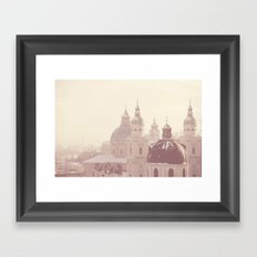 beneath her snow covered domes ... Framed Art Print