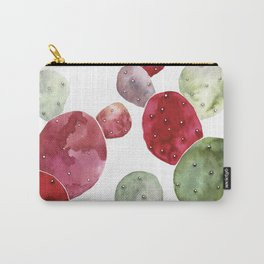Watercolor cactus bunch in red and green Carry-All Pouch