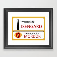 Isengard Twinned With Mordor Road Sign Framed Art Print