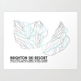Brighton, UT - Minimalist Trail Art Art Print