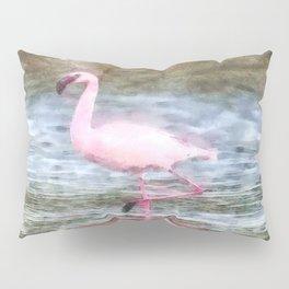 Lesser Flamingo Watercolor Pillow Sham