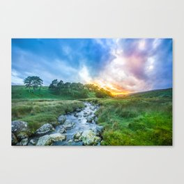 Sunset summer in Wicklow Mountains Canvas Print