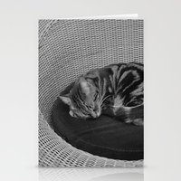sofa Stationery Cards featuring sleeping cat on sofa by gzm_guvenc