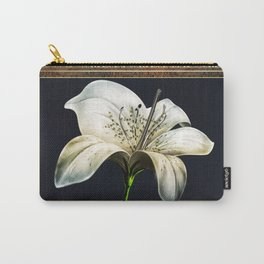 White Lily on Gold Manuscript Carry-All Pouch