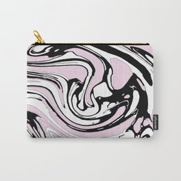 Black, White and Pink Graphic Paint Swirl Pattern Effect Carry-All Pouch