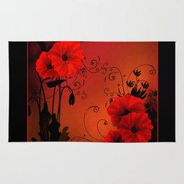 Poppy flowers, sunset Rug
