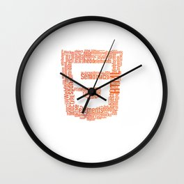 HTML5 wordcloud shirt for Front End Developers Wall Clock