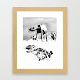 A snowspeedery day on Hoth (Black and White version) Framed Art Print