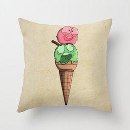 Silly ice cream Throw Pillow