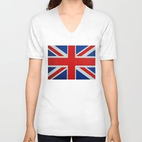 union jack V-neck T-shirts featuring Union Jack by MICHELLE MURPHY
