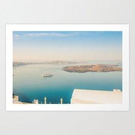 The beautiful white village Fira and vie to the Nea Kameni, Santorini, Greece Art Print