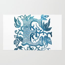 Letter E Antique Floral Letterpress Monogram Rug