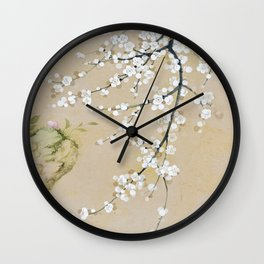 Japanese apricot flower painting,oriental,chinoiserie,korean painting Wall Clock