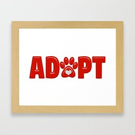 Shiny Red ADOPT Animal Paw Print with  White Heart Framed Art Print
