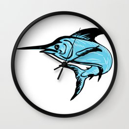 Blue marlin fish jump Wall Clock
