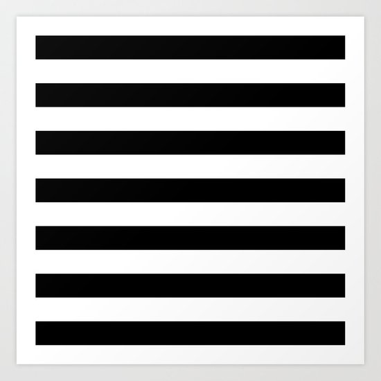 Horizontal Stripes (Black/White) Art Print