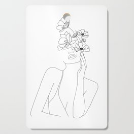 Minimal Line Art Woman with Flowers Cutting Board