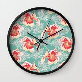 Hawaiian Flowers Wall Clock