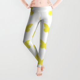 Yellow Butterfly Pattern and Print Leggings