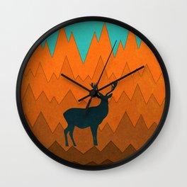 Deer silhouette in autumn Wall Clock