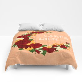 Crescent Bloom | Red roses and oranges Comforters