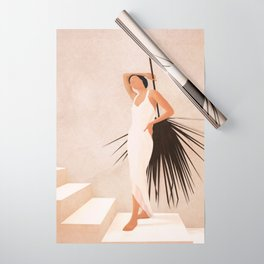 Minimal Woman with a Palm Leaf Wrapping Paper