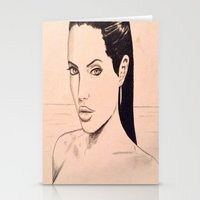 angelina jolie Stationery Cards featuring angelina jolie by Justinhotshotz