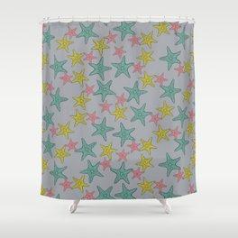 Starfish gray background Shower Curtain
