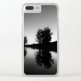 BLACK GLASS Clear iPhone Case