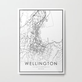 Wellington City Map New Zealand White and Black Metal Print