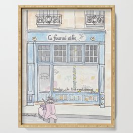 Paris Blue Cafe with Pink Scooter Cat  Serving Tray