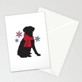 Black Dog Winter Stationery Cards