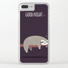 Sloth card - good night Clear iPhone Case