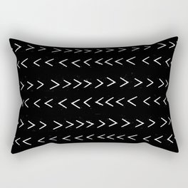 mudcloth 14 minimal textured black and white pattern home decor minimalist beach Rectangular Pillow