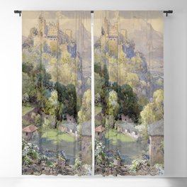 Overlooking the Hohenwerfen Fortress in Salzburg by Edward Theodor Compton Blackout Curtain