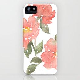 Loose watercolor peonies iPhone Case