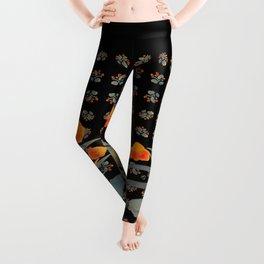 Atom Flowers #34 in orange and blue grey Leggings