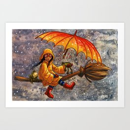 Flying Frog Witch Art Print