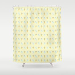 Owl and Olive Plants Pattern, yellow Shower Curtain
