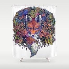 Hiding fox rainbow Shower Curtain