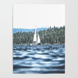 Calm Lake Sailboat Poster