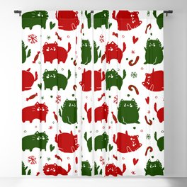 Christmas Cats and Candy Canes Blackout Curtain