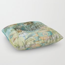 Wonderland - Bonkers Quote - Vintage Style Floor Pillow