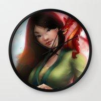 mulan Wall Clocks featuring Mulan by ChrySsV