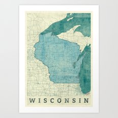 Wisconsin State Map Blue Vintage Art Print