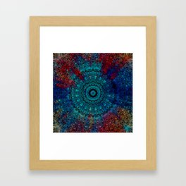 Bohemian Passion Blue & Red Mandala Design Framed Art Print