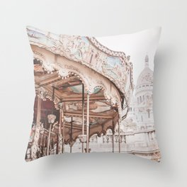 Montmartre Paris Carousel with Sacre Coeur Throw Pillow