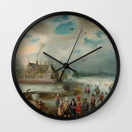 "Adam van Breen ""Skating on the Frozen Amstel River, 1611"" Wall Clock"