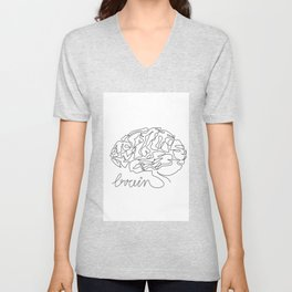 Brain line drawing print, Brain printable wall art, Medical one line art, Black white sketch, Tumblr room, Doctor office decor Unisex V-Neck