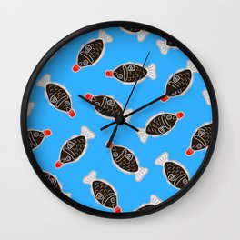 Sushi Soy Fish Pattern in Blue Wall Clock